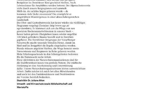 Naturwacht Gruppe Dornbirn Förderung von der Stadt erhalten