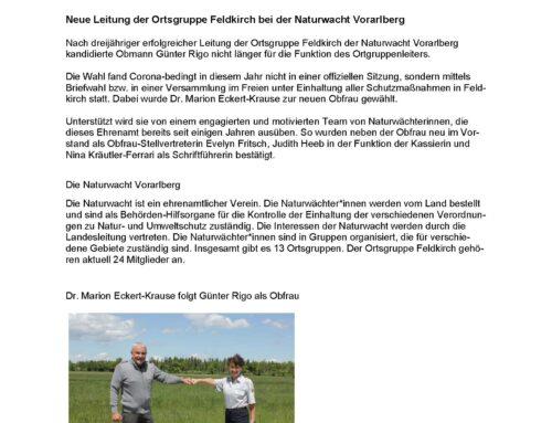 Die Naturwacht-Gruppe Feldkirch unter neuer Leitung